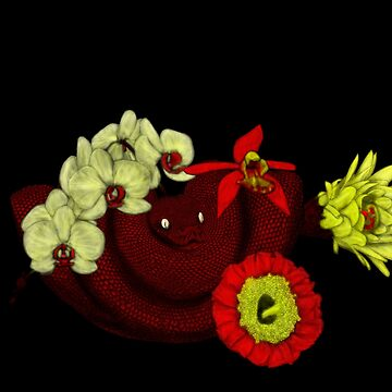 Chinese Zodiac Lucky Colours and Flowers Snake by KristalStittle