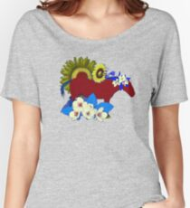 Chinese Zodiac Lucky Colours and Flowers Horse Women's Relaxed Fit T-Shirt