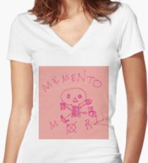 Memento Mori Drawing on Post-It  Women's Fitted V-Neck T-Shirt