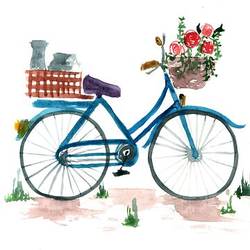 watercolor bicycle, poppies flowers by alextilalila