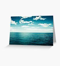 Ocean Sky Photography, Dark Teal Sea, Turquoise Aqua Blue Seascape Greeting Card