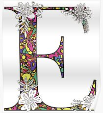 The Letter E - Floral Alphabet with Bright Pattern Poster