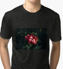 Red peonies in the garden Tri-blend T-Shirt