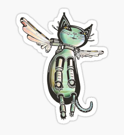 Winged Cat colored version Sticker