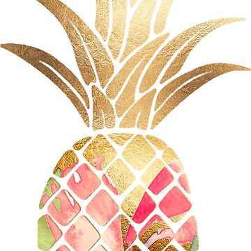Pink Watercolor Gold Pineapple  by bombinodesigns