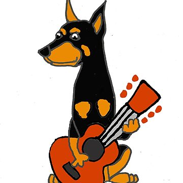 Funny Doberman Pinscher Playing Guitar by naturesfancy