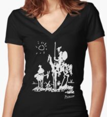 Pablo Picasso Don Quixote 1955 Artwork Shirt, Reproduction Women's Fitted V-Neck T-Shirt