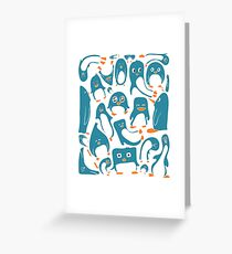 Petrol Colored Penguin Party Greeting Card
