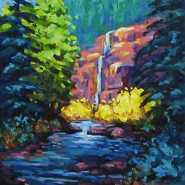 Sunlit Waterfall by karenilari