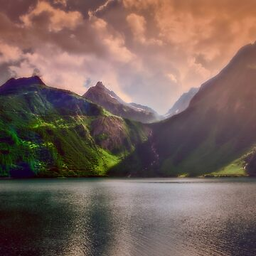 Colored lakescape with mountains by birba