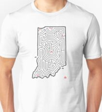 Indiana Map Maze | Hand-Drawn Design | Indianapolis/Fort Wayne/South Bend Unisex T-Shirt