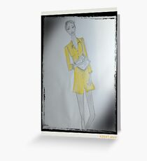 Girl Wearing A Yellow Shirt Dress (Fashion Illustration) Greeting Card