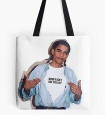Bolsa de tela las mujeres del meme de obama no le deben etiqueta engomada de la camisa