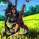 Ainu Woman with Wagtails by iKiska