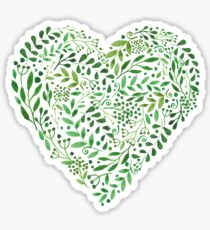 Watercolor  Green branches in heart composition Sticker