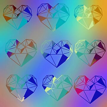 All the rainbow of colors in my heart, hearts pattern, multi color hearts, modern,trendy,cute,girly by love999