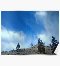 Wispy Clouds over Grassland Poster
