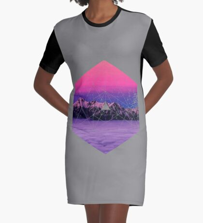 Nature and Geometry - Mountains and Constellations Graphic T-Shirt Dress