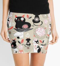 Floral pattern with cats Mini Skirt
