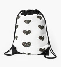 Vinyl Heart Drawstring Bag