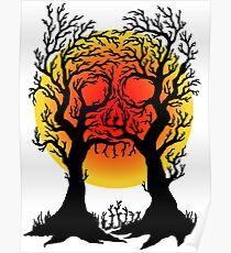 FULL MOON SKULL TREES - HALLOWEEN DESIGN Poster