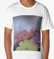 Flower on old vintage color grunge background Long T-Shirt