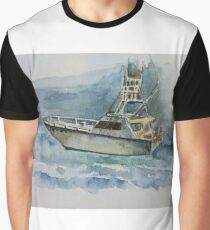 Watercolor Yacht - Original Painting Graphic T-Shirt