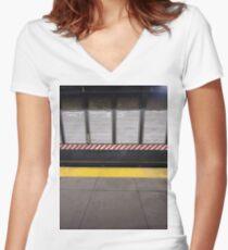 New York City, Manhattan, Brooklyn, New York, streets, buildings, skyscrapers, cars, pedestrians, #NewYorkCity, #Manhattan, #Brooklyn, #NewYork, #streets, #buildings, #skyscrapers, #cars, #pedestrians Women's Fitted V-Neck T-Shirt