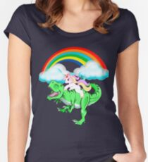 Unicorn Riding Dinosaur T rex T Shirt Unicorns Rainbow Gifts Women's Fitted Scoop T-Shirt