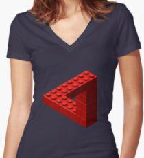 Camiseta entallada de cuello en V Ladrillos de juguete Escher - Rojo