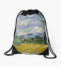 Wheat Field with Cypresses Drawstring Bag