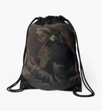 The Potato Peeler (reverse: Self-Portrait with a Straw Hat) Drawstring Bag