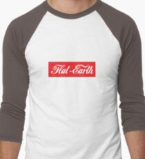 Flat Earth Coke parody logo Men's Baseball ¾ T-Shirt