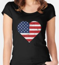 American Flag Distressed Vintage Heart Design Women's Fitted Scoop T-Shirt