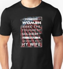 Soldier Wife Women Make Toughest Soldiers 4th of July Military USA Flag Vintage Unisex T-Shirt