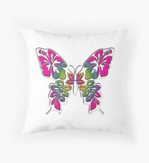 WHITE INLAY BUTTERFLY THREE Throw Pillow
