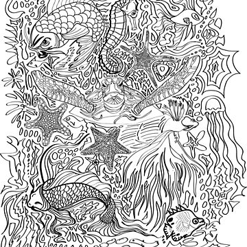 Coloring Book Fishes by TinaGraphics
