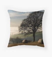 Fog over the vale of York Throw Pillow
