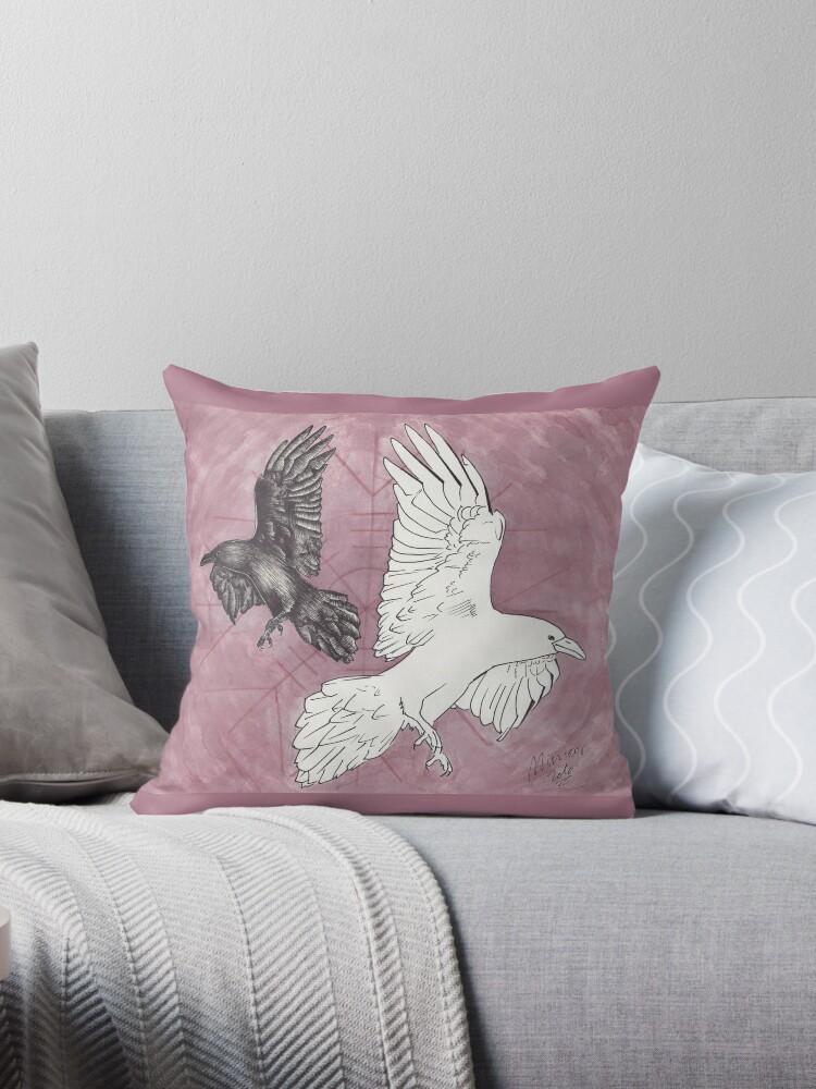 Odin S Ravens Huginn Muninn Throw Pillow By Miniar