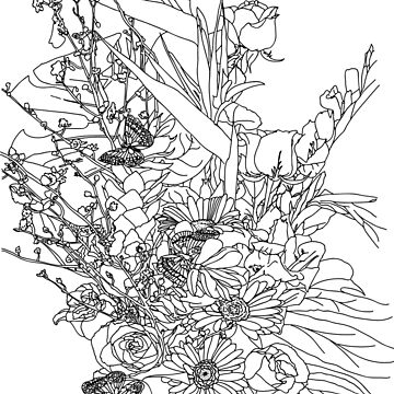 Coloring Book of a Flower Bouquet by TinaGraphics