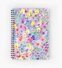 colorful field flowers watercolor Spiral Notebook