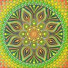 Green yellow orange mandala painting by Anastasia Helten