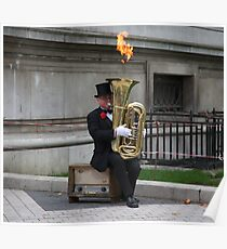 Flaming Bass Poster