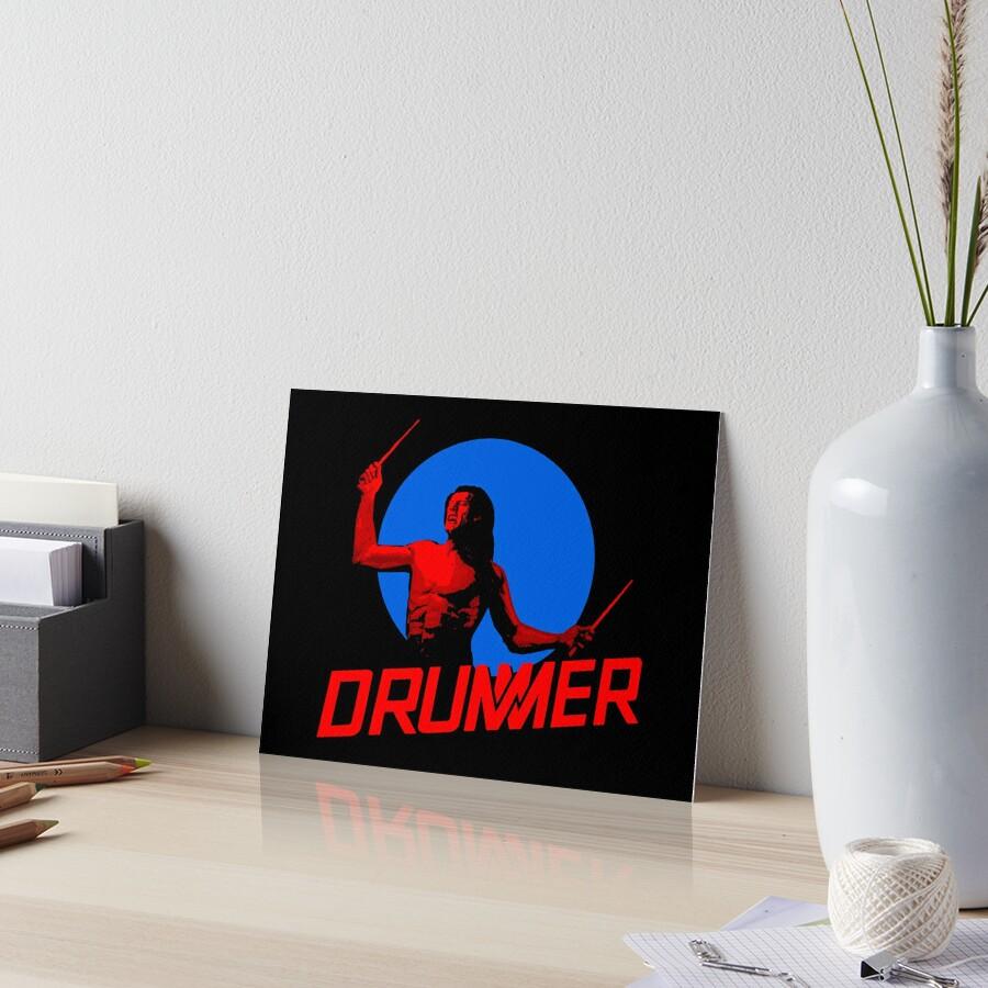 DRUMMER Logo and Figure Art Board Print