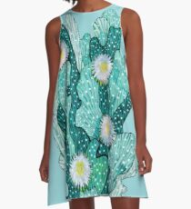 Blooming Cactus, Abstract Floral Art, Turquoise Teal White A-Line Dress