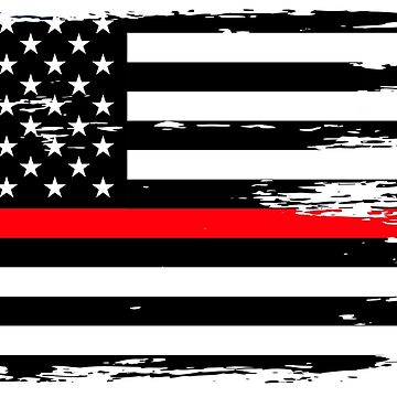 Thin Red Line Firefighter First Responder Fireman Flag by culturesociety
