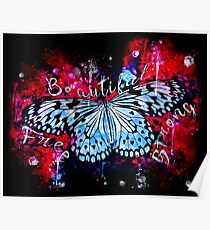 gxp butterfly beautiful strong free splatter watercolor blue red Poster