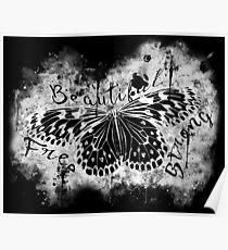 gxp butterfly beautiful strong free splatter watercolor black negative Poster