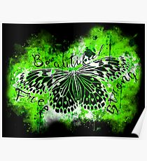gxp butterfly beautiful strong free splatter watercolor green negative Poster