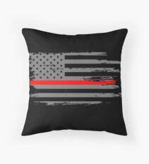 Thin Red Line Firefighter First Responder Fireman Flag Throw Pillow